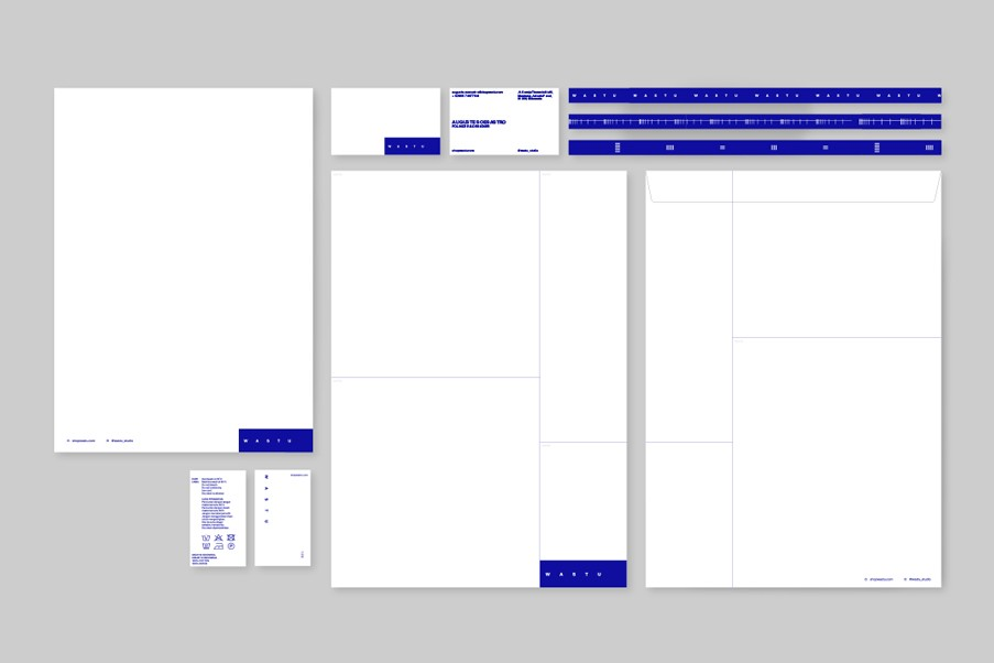 Letterhead, business card, care label, tape detailing for clothes, and envelope
