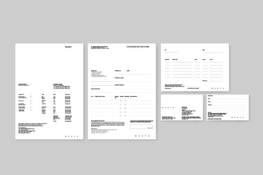 Return form, receipt, labels, etc.